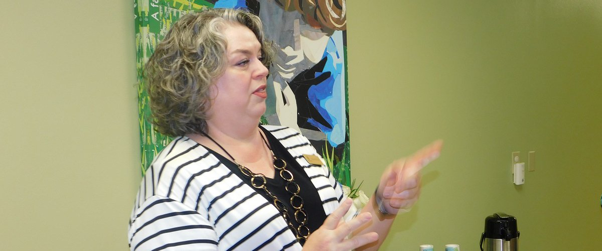 Marisa Phillips, Buckner Executive Director and Workforce Solutions Deep East Texas Board Member, speaks during the Red Carpet Salute for Mary Jo Gorden Child Development Center.: