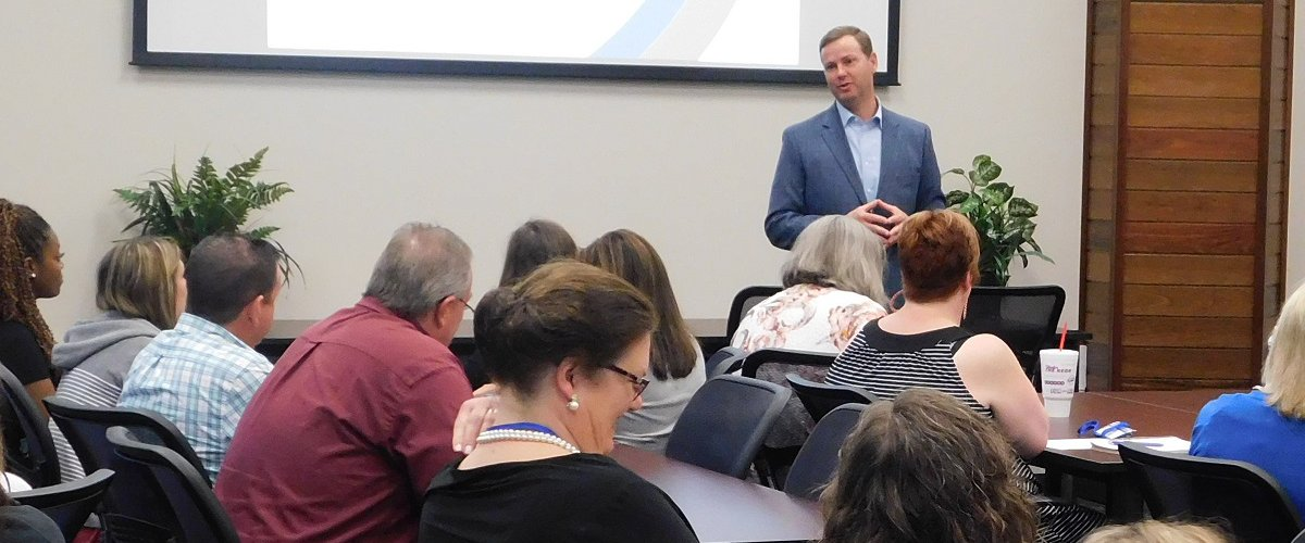 Partnering for Tomorrow's Workforce.  State Rep. Trent Ashby delivered keynote address at a recent workshop hosted by Angelina College and Workforce Solutions Deep East Texas. : The event highlighted strategies to link workforce and education to prepare students for college or career in industry.