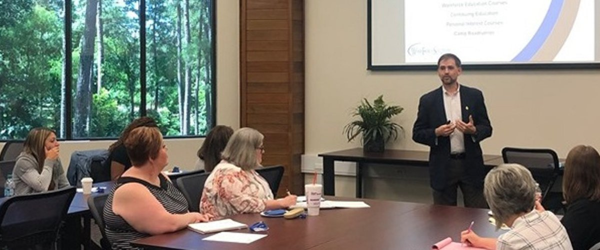 Partnering for Tomorrow's Workforce. Workforce Solutions Deep East Texas and Angelina College recently held a workshop for area school district leaders. : Tim Ditoro, Workforce Deep East Texas Board member and Angelina College Dean of Community Services.