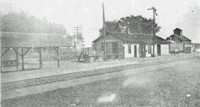 Maple Plain Depot with covered platform where crates of berries were stacked before shipping