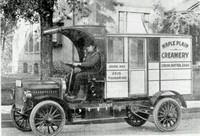 Frank Halgren with Creamery truck