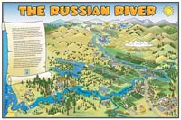 Russian River Cartoon Poster