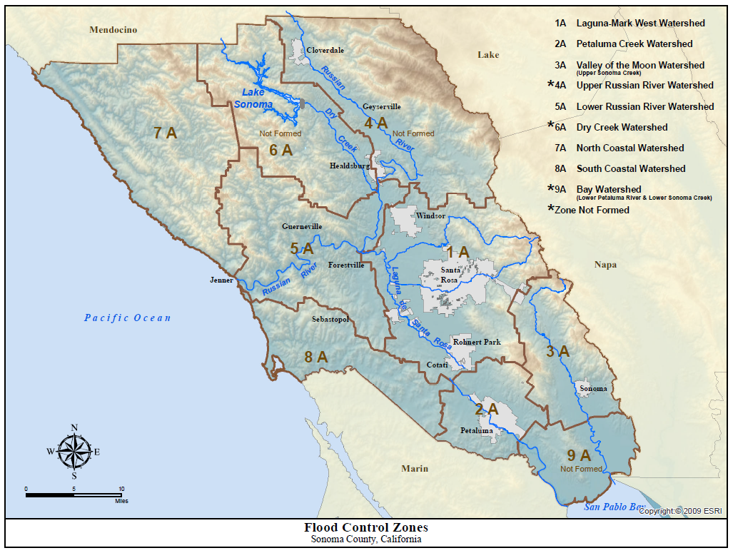 Image of: Sonoma Water Flood Protection Zones