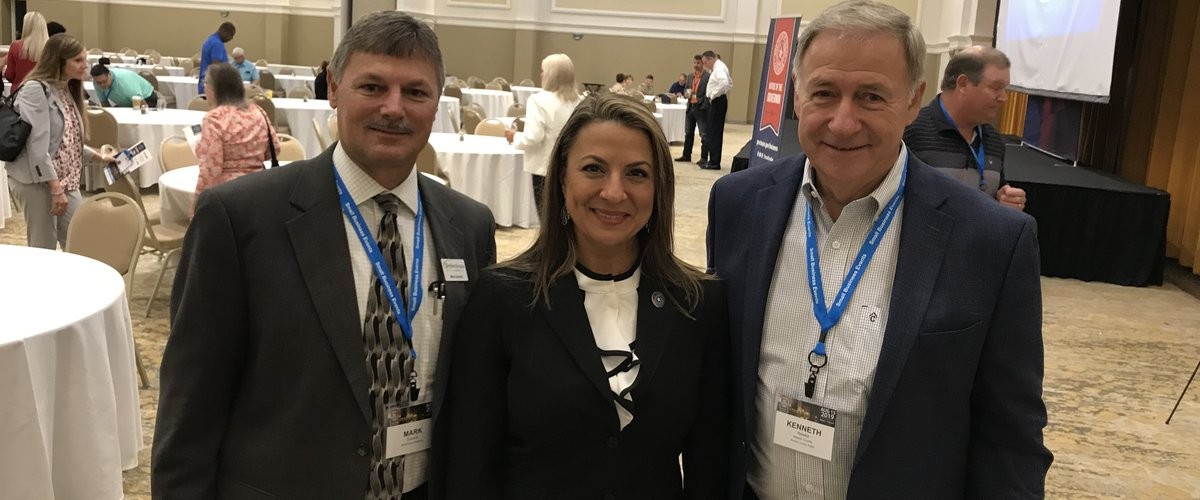 Deep East Texas Workforce Board Executive Director Mark Durand, TWC Chair Ruth Hughs and Newton County Judge Kenneth Weeks at the Governor's Small Business Forum in Nacogdoches, August 15, 2019: