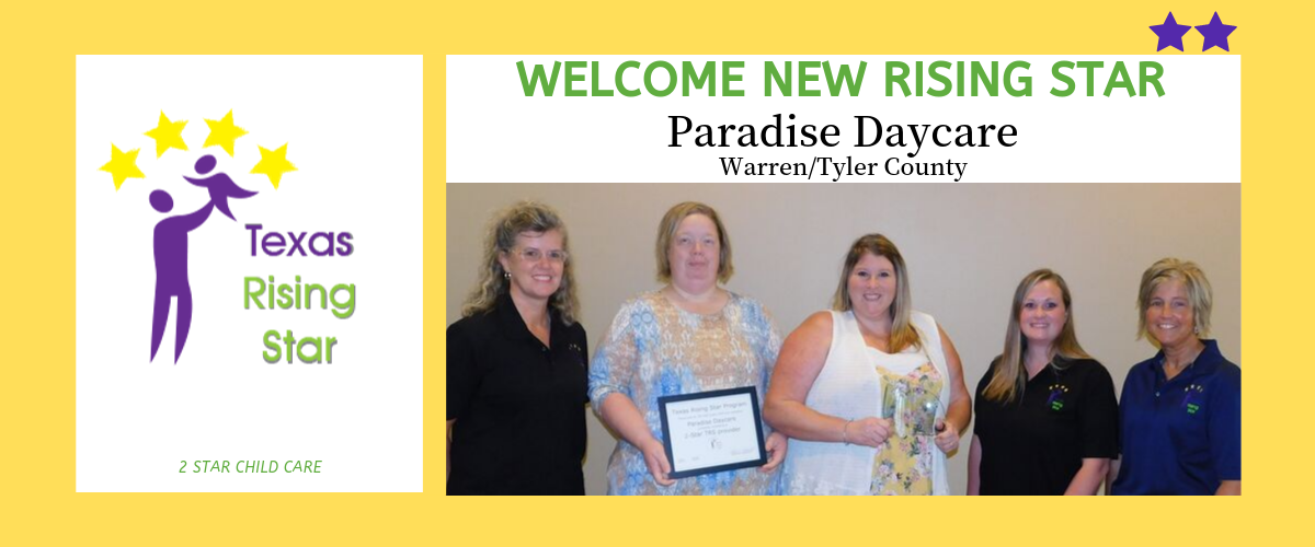 : Paradise Daycare Becomes Certified by Texas Rising Star.  CLICK HERE TO READ THE FULL STORY