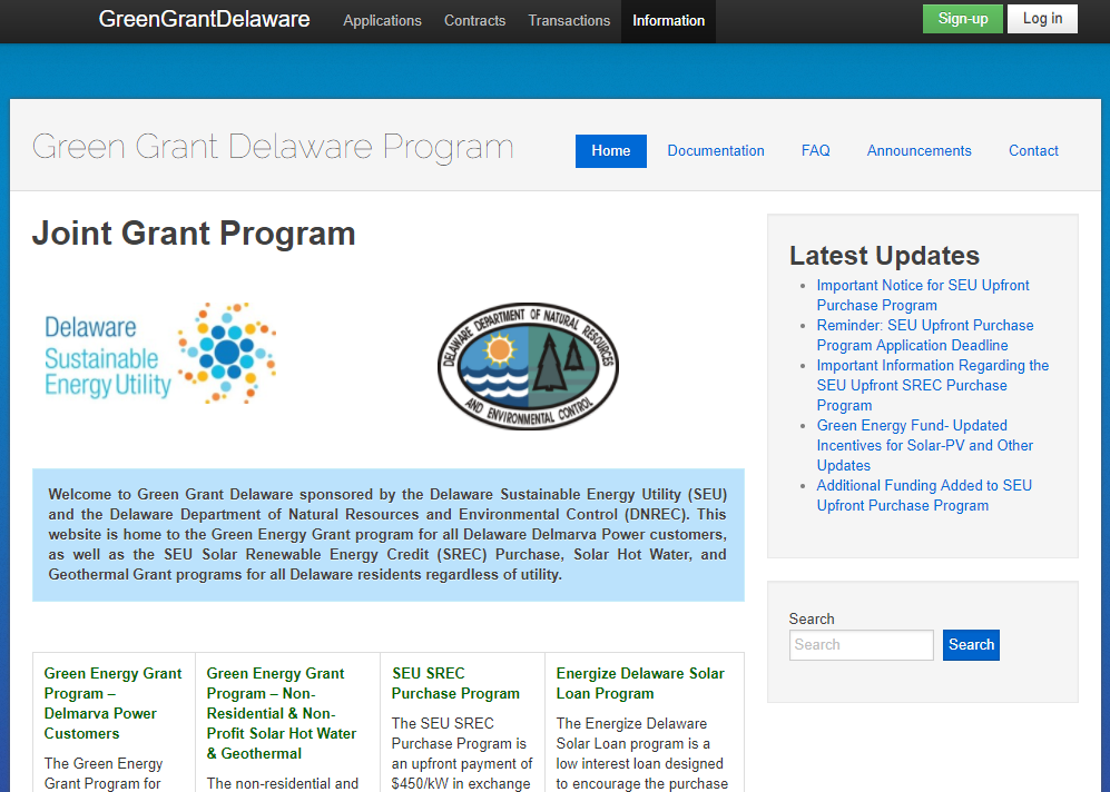 Green Grant Delaware Website