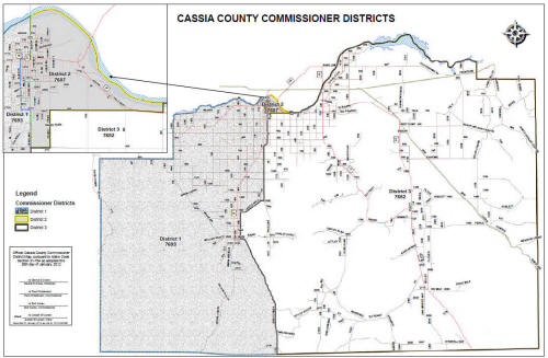 Idaho Map By County.Cassia County Idaho District Map