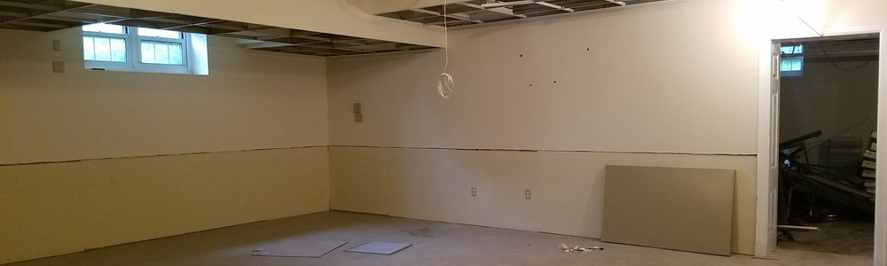 : Basement demo in progress - View of Meeting Room